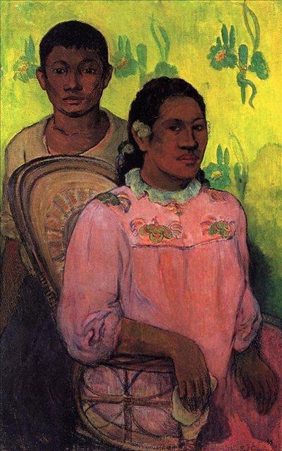 < Таитянские женщина и мальчик >  :: Поль Гоген [ живопись постимпрессионизм ] - Гоген Поль ( Paul Gauguin ) фото