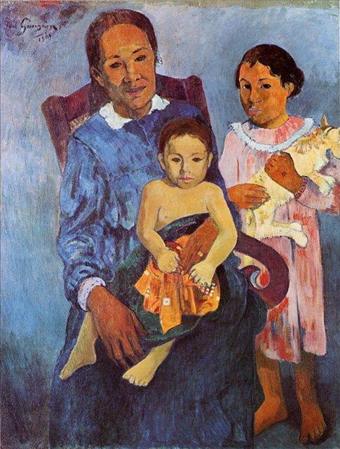 < Таитянская женщина с двумя детьми >  :: Поль Гоген [ живопись постимпрессионизм ] - Paul Gauguin фото