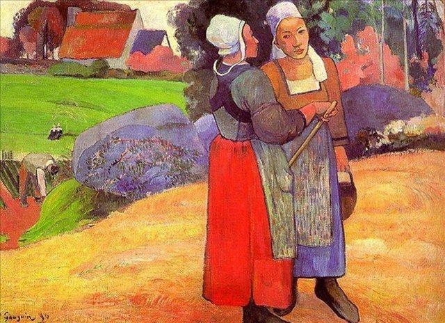 < Две бретонские крестьянки на дороге >  :: Поль Гоген [ живопись постимпрессионизм ] - Гоген Поль ( Paul Gauguin ) фото