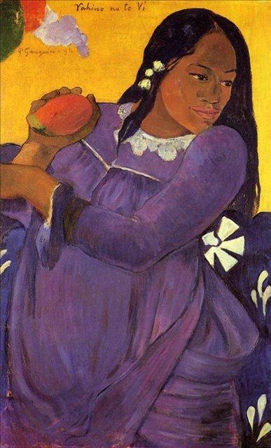 < Vahine no te vi (Женщина с манго) >  :: Поль Гоген [ живопись постимпрессионизм ] - Гоген Поль ( Paul Gauguin ) фото