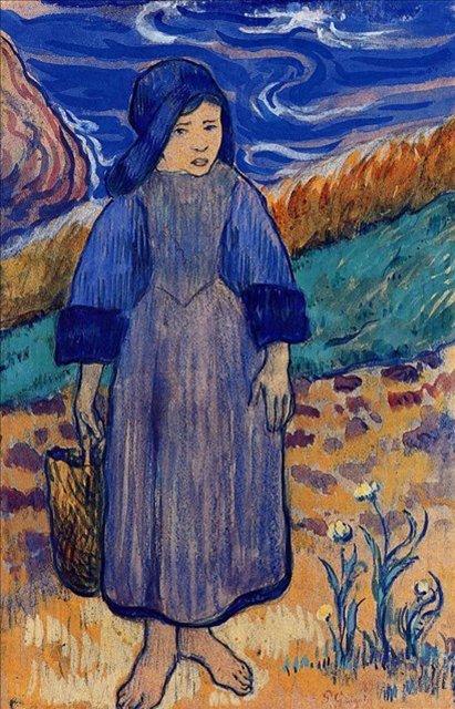 < Молодая бретонка на море >  :: Поль Гоген [ живопись постимпрессионизм ] - Paul Gauguin фото