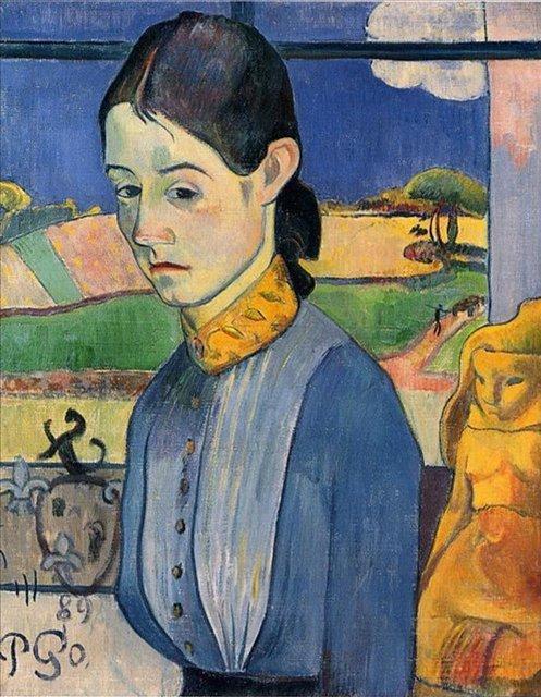 < Молодая бретонка >  :: Поль Гоген [ живопись постимпрессионизм ] - Гоген Поль ( Paul Gauguin ) фото