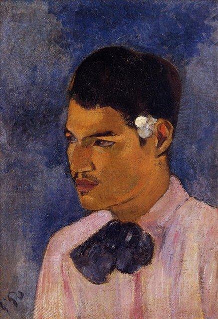 < Молодой мужчина с цветком >  :: Поль Гоген [ живопись постимпрессионизм ] - Paul Gauguin фото