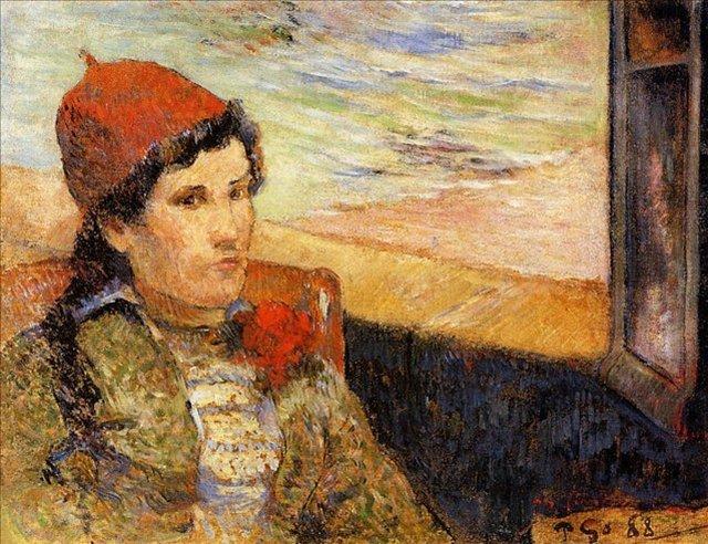 < Девушка у окна >  :: Поль Гоген [ живопись постимпрессионизм ] - Paul Gauguin фото