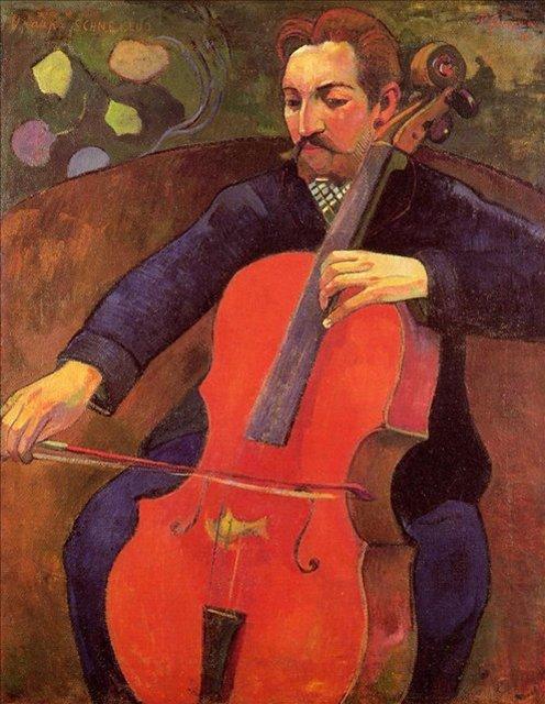 < Виолончелист (Портрет Фрица Шеклюда) >  :: Поль Гоген [ живопись постимпрессионизм ] - Paul Gauguin фото