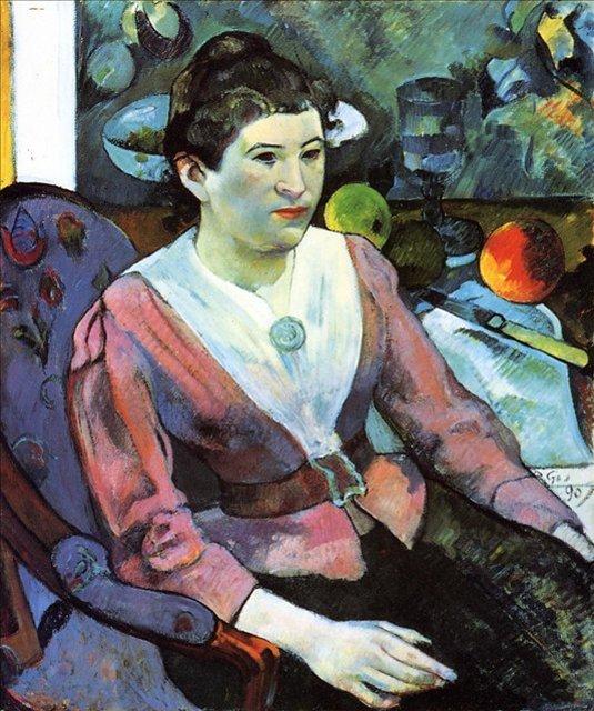 < Портрет Мари Дерен (Портрет женщины с натюрмортом с стиле Сезанна) >  :: Поль Гоген [ живопись постимпрессионизм ] - Paul Gauguin фото