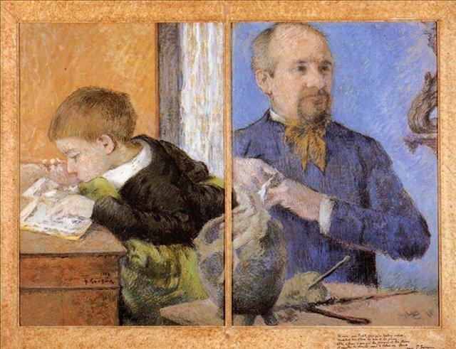 < Портрет скульптора Обе с сыном >  :: Поль Гоген [ живопись постимпрессионизм ] - Paul Gauguin фото