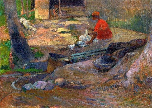 < Маленькая прачка  >  :: Поль Гоген [ живопись постимпрессионизм ] - Paul Gauguin фото