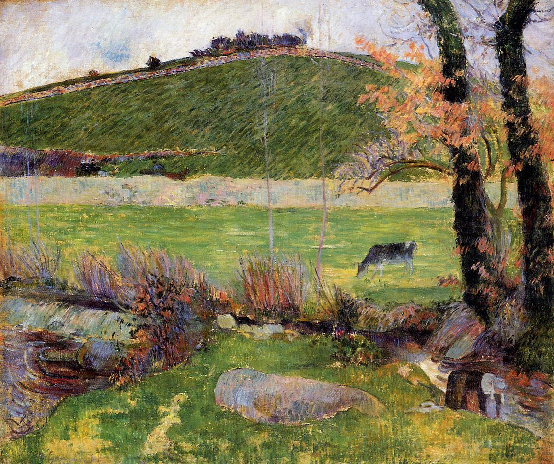 Лужайка на берегу реки в Эвене :: Поль Гоген [ живопись постимпрессионизм ] - Paul Gauguin фото