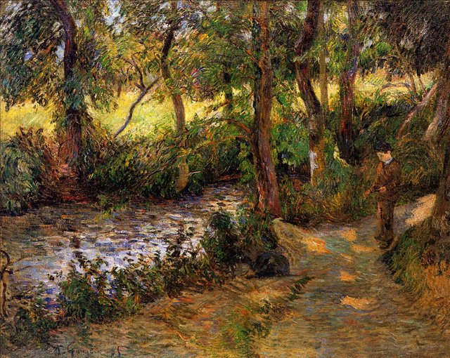 пейзаж < Мальчик у воды >  [ живопись постимпрессионизм ] - Гоген Поль ( Paul Gauguin ) фото