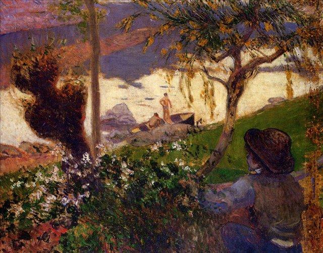 пейзаж < Бретонский мальчик на реке Эвен >  :: Поль Гоген [ живопись постимпрессионизм ] - Гоген Поль ( Paul Gauguin ) фото