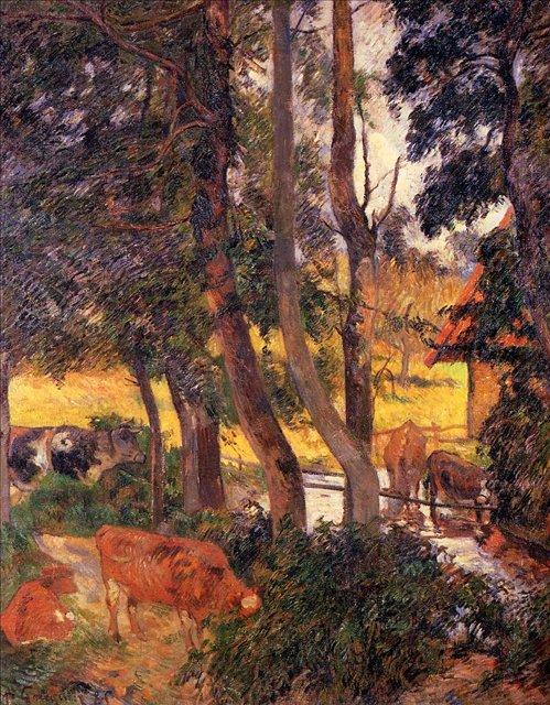 пейзаж < Скот на водопое (Берег пруда) >  :: Поль Гоген [ живопись постимпрессионизм ] - Paul Gauguin фото