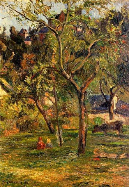 пейзаж Дети на пастбище (Фруктовый сад в низине церкви Бихорел) :: Поль Гоген [ живопись постимпрессионизм ] - Paul Gauguin фото
