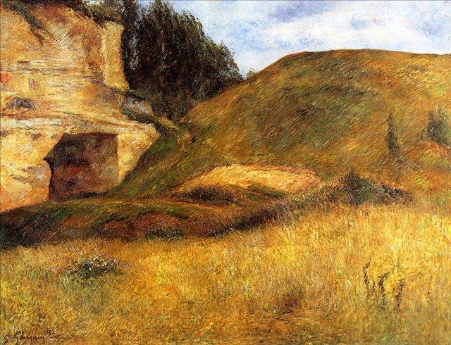 пейзаж Каменоломня, провал на обрыве :: Поль Гоген [ живопись постимпрессионизм ] - Paul Gauguin фото