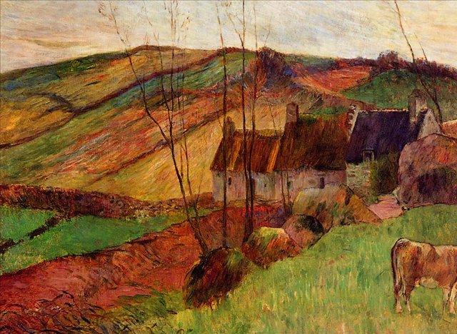 пейзаж Домики на горе Сан-Маргарит :: Поль Гоген - Paul Gauguin фото