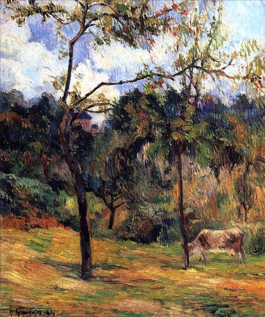 пейзаж Корова на лугу :: Поль Гоген [ живопись постимпрессионизм ] - Paul Gauguin фото