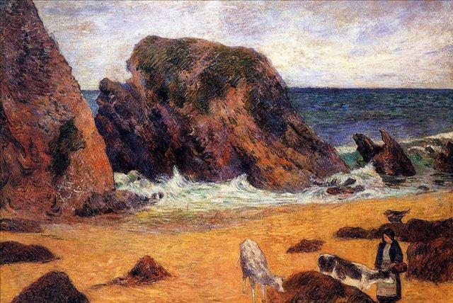 пейзаж < Коровы на море >  :: Поль Гоген [ живопись постимпрессионизм ] - Гоген Поль ( Paul Gauguin ) фото