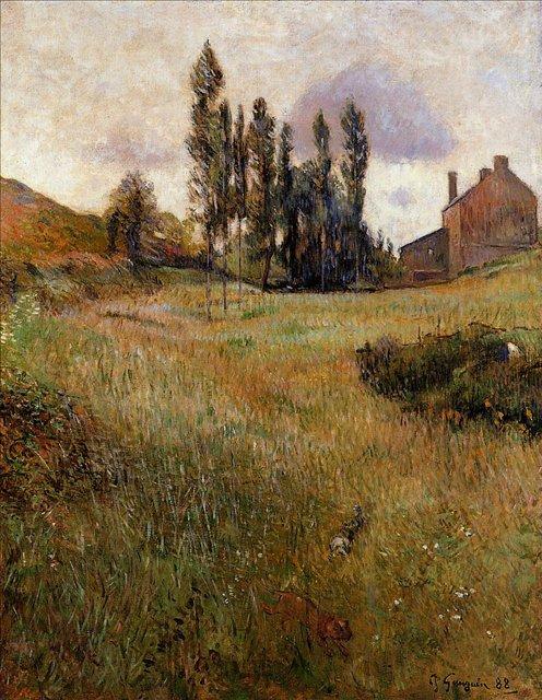 пейзаж Псы, бегущие через поле :: Поль Гоген [ живопись постимпрессионизм ] - Paul Gauguin фото
