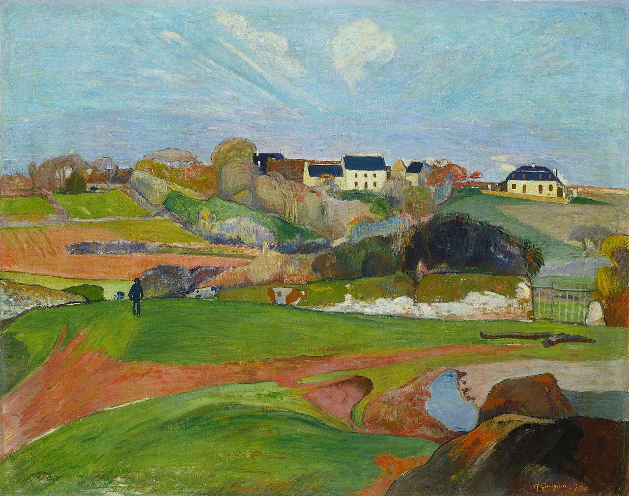 пейзаж < Поля в Лё Пулдю >  :: Поль Гоген [ живопись постимпрессионизм ] - Paul Gauguin фото