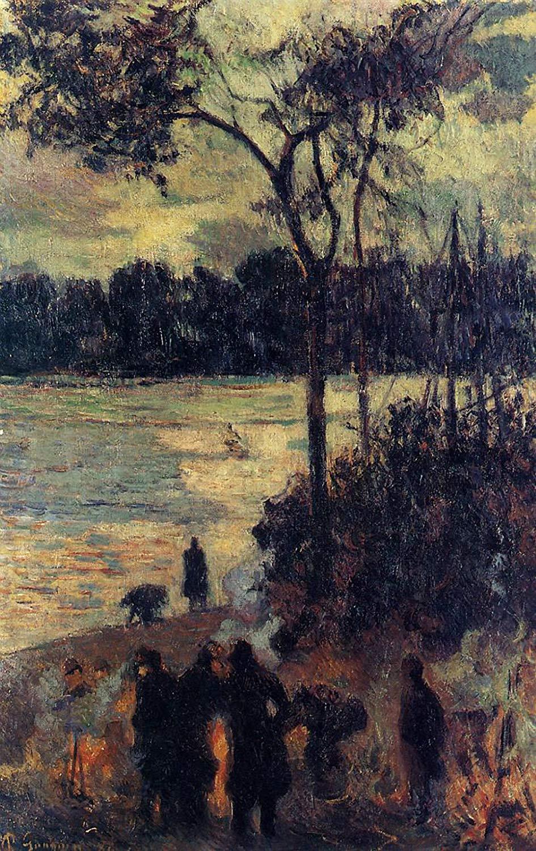 пейзаж < Костёр у воды >  :: Поль Гоген [ живопись постимпрессионизм ] - Гоген Поль ( Paul Gauguin ) фото