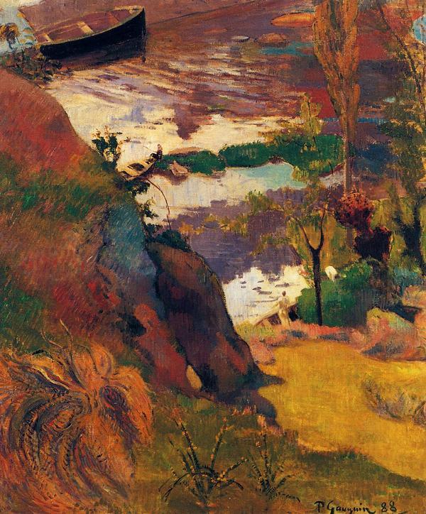 пейзаж < Рыбаки и купальщики на Эвене >  :: Поль Гоген [ живопись постимпрессионизм ] - Paul Gauguin фото