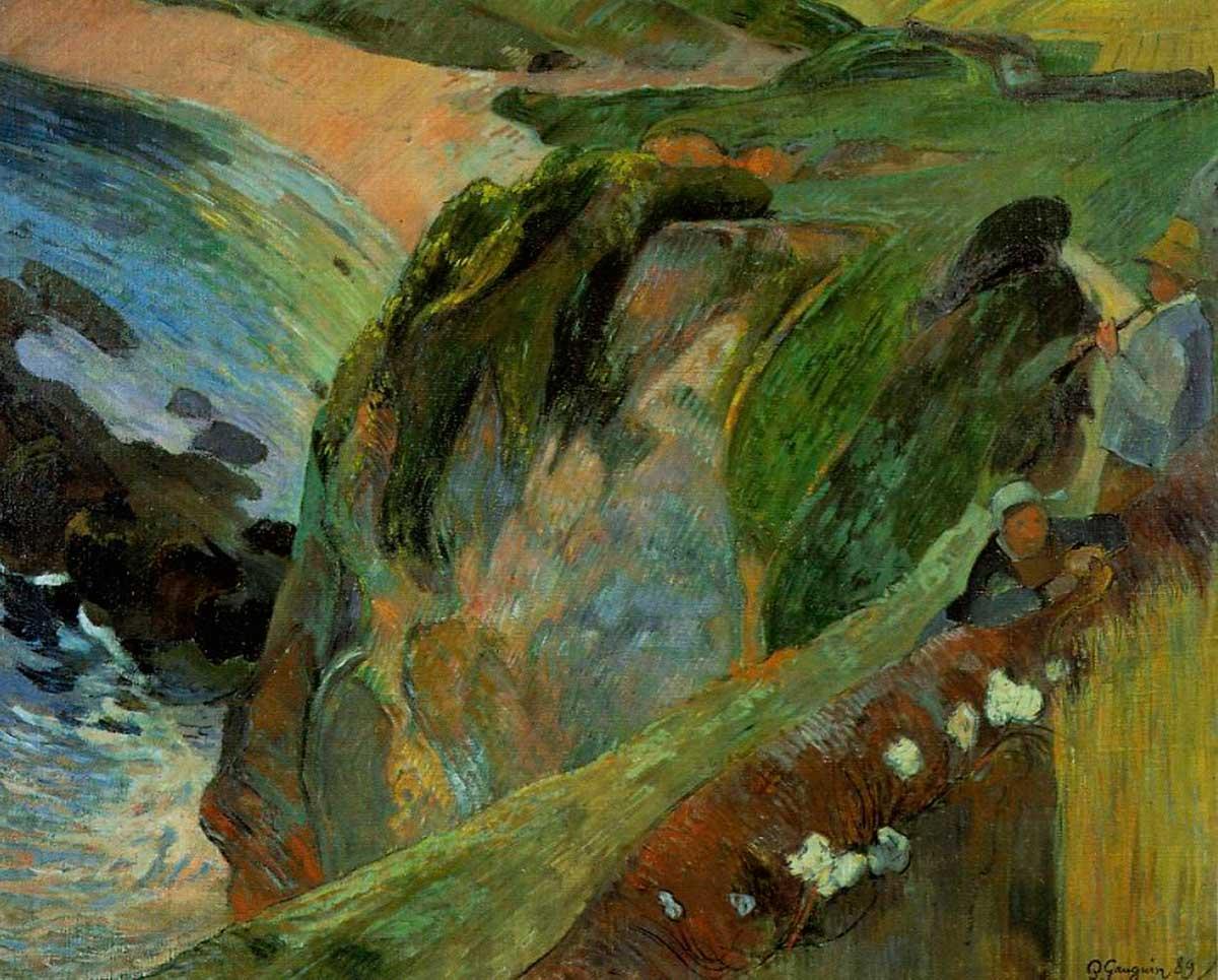 пейзаж < Флейтист на обрыве >  :: Поль Гоген [ живопись постимпрессионизм ] - Paul Gauguin фото
