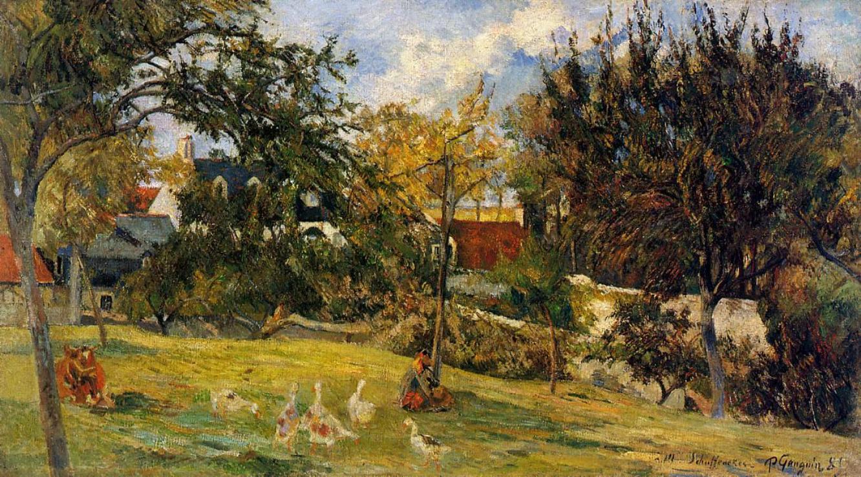 пейзаж < Гуси на лугу >  :: Поль Гоген [ живопись постимпрессионизм ] - Гоген Поль ( Paul Gauguin ) фото