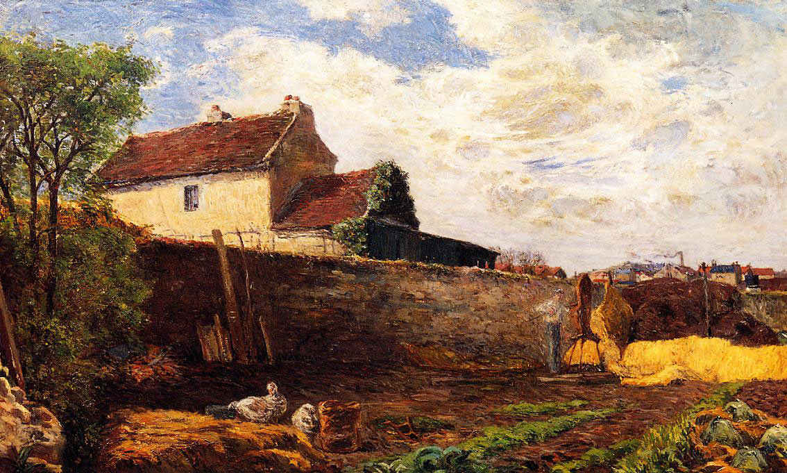 пейзаж < Гуси на ферме >  :: Поль Гоген [ живопись постимпрессионизм ] - Гоген Поль ( Paul Gauguin ) фото
