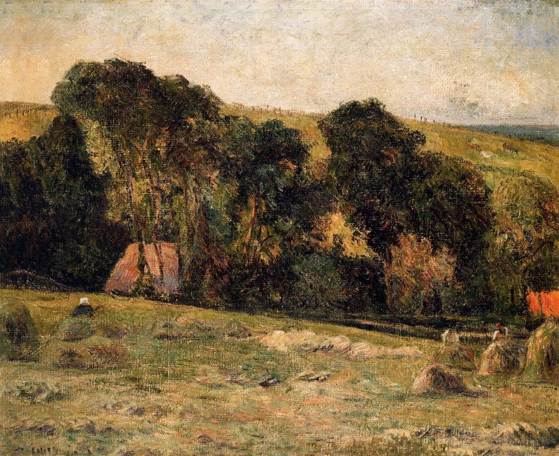пейзаж < Сенокос рядом с Дьепом >  :: Поль Гоген [ живопись постимпрессионизм ] - Paul Gauguin фото