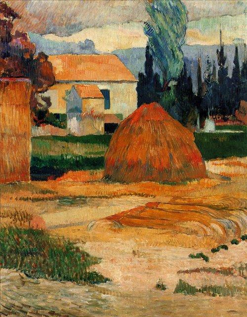 пейзаж < Сенокос рядом с Арле >  :: Поль Гоген [ живопись постимпрессионизм ] - Гоген Поль ( Paul Gauguin ) фото