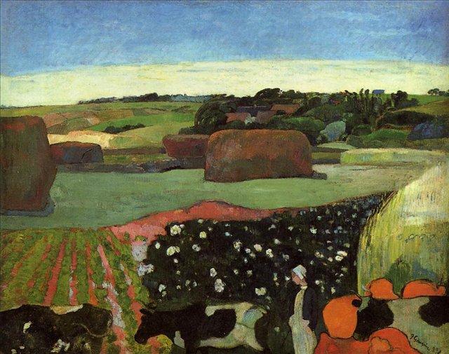 пейзаж < Стог сена в Британи (Картофельное поле) >  :: Поль Гоген [ живопись постимпрессионизм ] - Гоген Поль ( Paul Gauguin ) фото