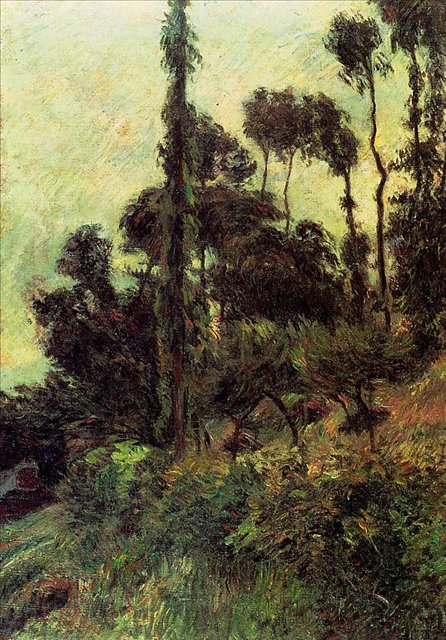 пейзаж < Склон холма >  :: Поль Гоген [ живопись постимпрессионизм ] - Paul Gauguin фото