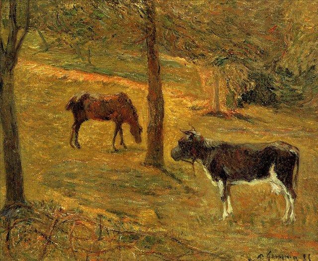 пейзаж < Лошадь и корова в поле >  :: Поль Гоген [ живопись постимпрессионизм ] - Гоген Поль ( Paul Gauguin ) фото