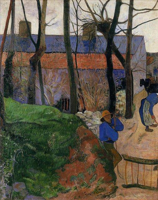 пейзаж < Дома в Лё Пулдю >  :: Поль Гоген [ живопись постимпрессионизм ] - Гоген Поль ( Paul Gauguin ) фото