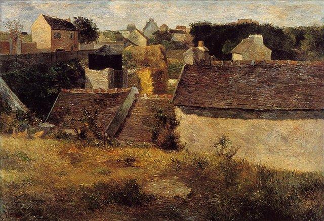пейзаж < Дома >  :: Поль Гоген [ живопись постимпрессионизм ] - Paul Gauguin фото