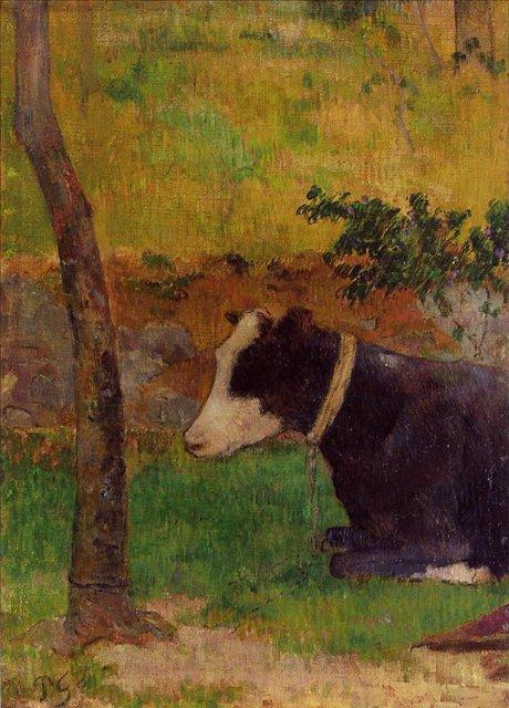 пейзаж < Лежащая корова >  :: Поль Гоген [ живопись постимпрессионизм ] - Paul Gauguin фото