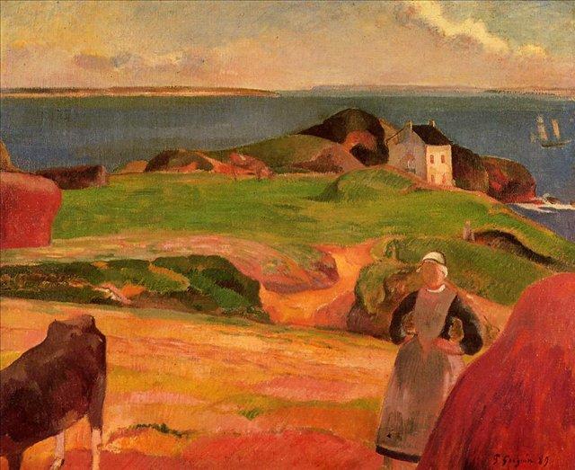 пейзаж < Пейзаж Лё Пулдю - одинокий дом >  :: Поль Гоген [ живопись постимпрессионизм ] - Гоген Поль ( Paul Gauguin ) фото