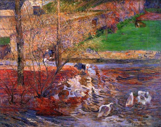 пейзаж < Пейзаж с гусями >  :: Поль Гоген [ живопись постимпрессионизм ] - Гоген Поль ( Paul Gauguin ) фото