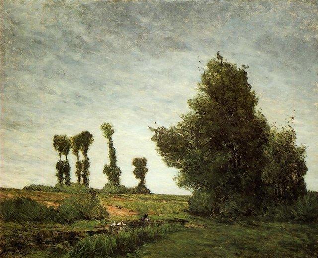 пейзаж < Пейзаж с тополями >  :: Поль Гоген [ живопись постимпрессионизм ] - Paul Gauguin фото
