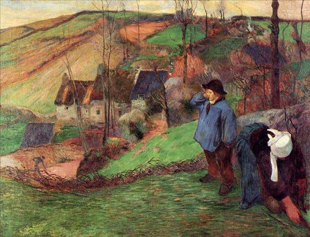 пейзаж Маленький бретонец Шеферд  :: Поль Гоген [ живопись постимпрессионизм ] - Paul Gauguin фото