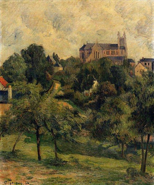 пейзаж < Собор Богоматери в Агне  >  :: Поль Гоген [ живопись постимпрессионизм ] - Гоген Поль ( Paul Gauguin ) фото