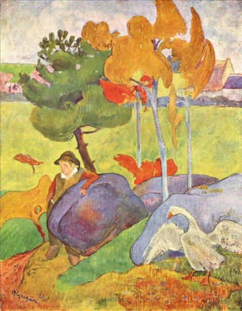 пейзаж < Бретонец, пасущий гусей  >  :: Поль Гоген [ живопись постимпрессионизм ] - Гоген Поль ( Paul Gauguin ) фото