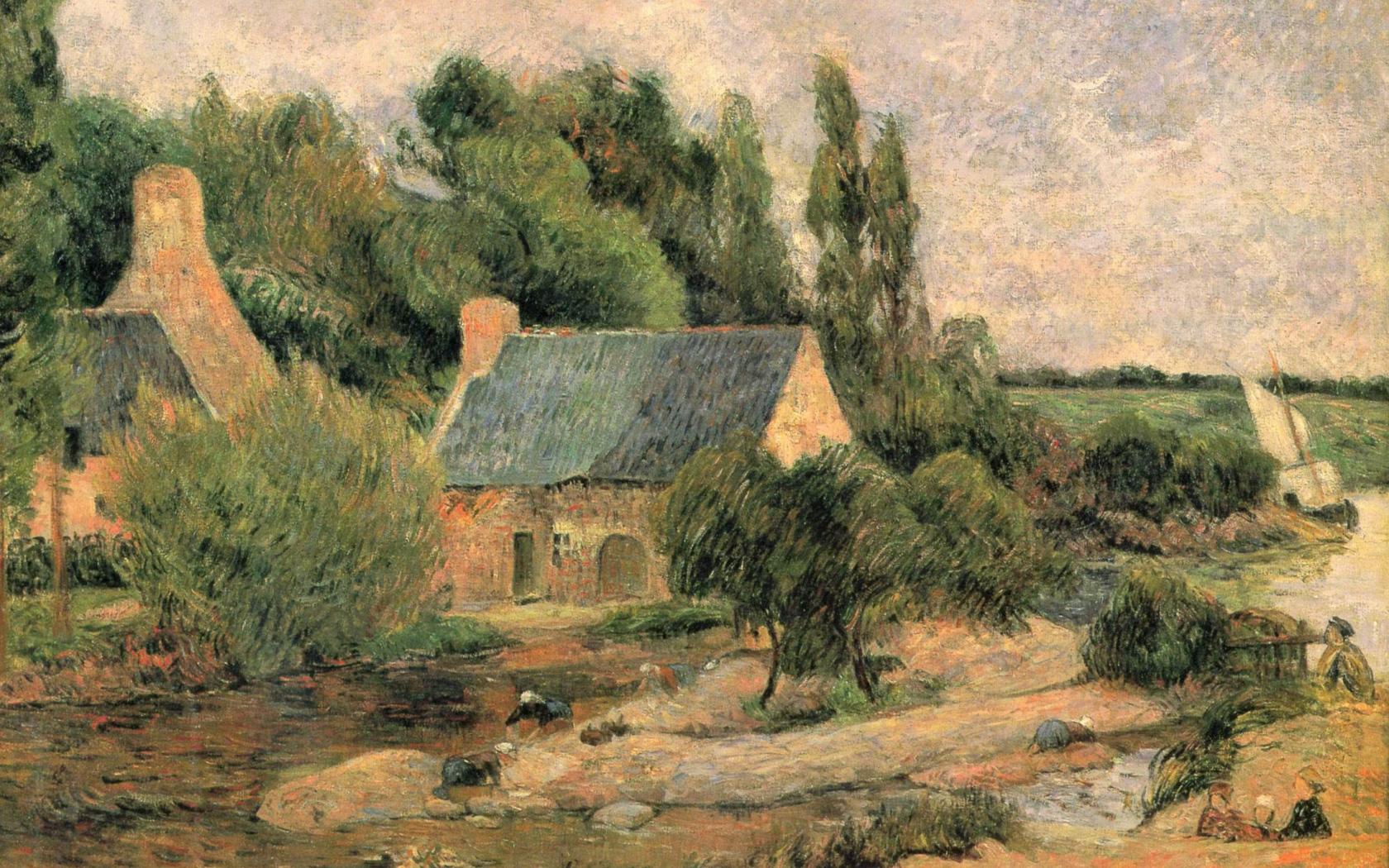 пейзаж < Прачки из Понт-Авена >  :: Поль Гоген [ живопись постимпрессионизм ] - Paul Gauguin фото