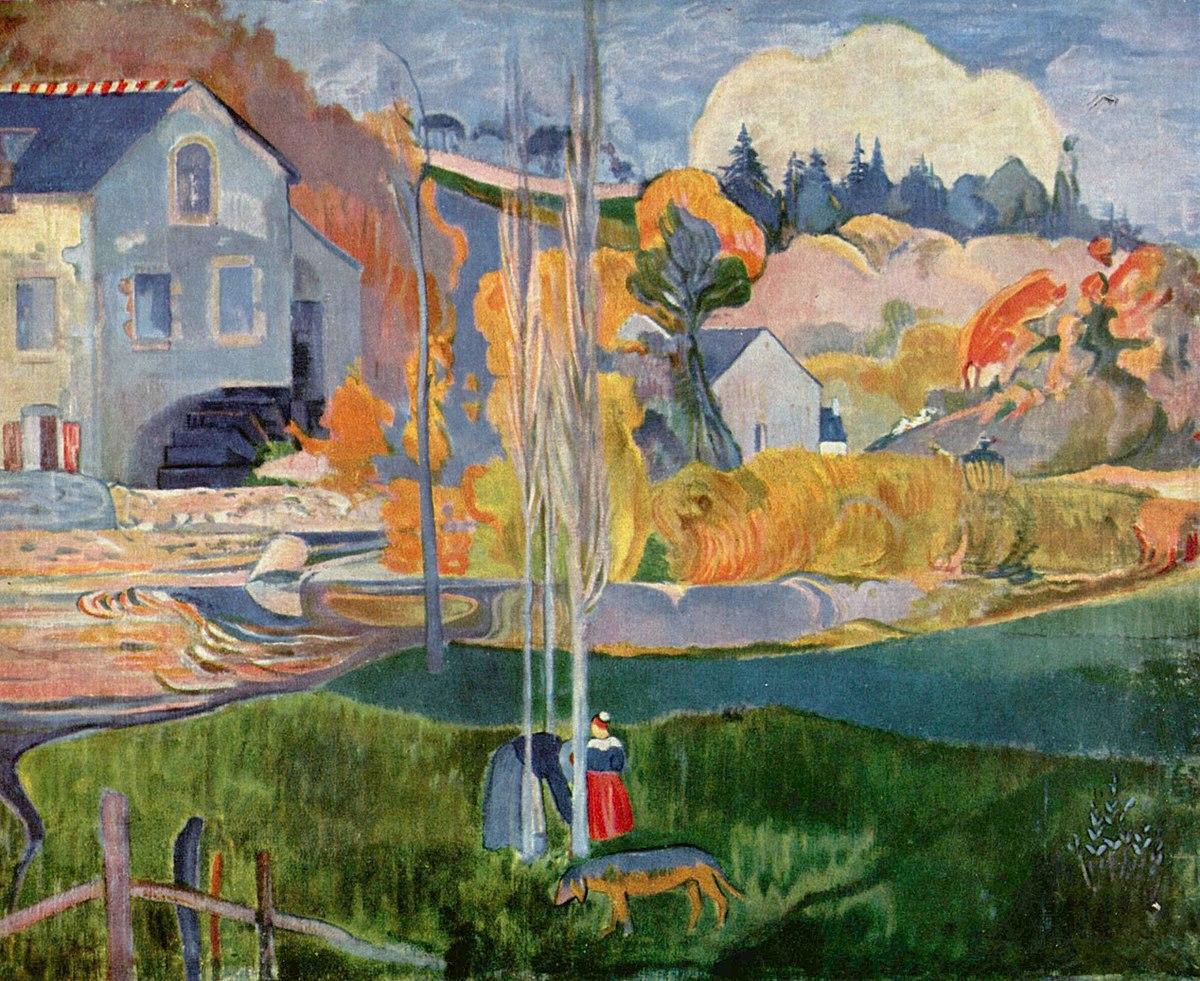 пейзаж < Мельница Давида в Понт- Эвене >  :: Поль Гоген [ живопись постимпрессионизм ] - Paul Gauguin фото