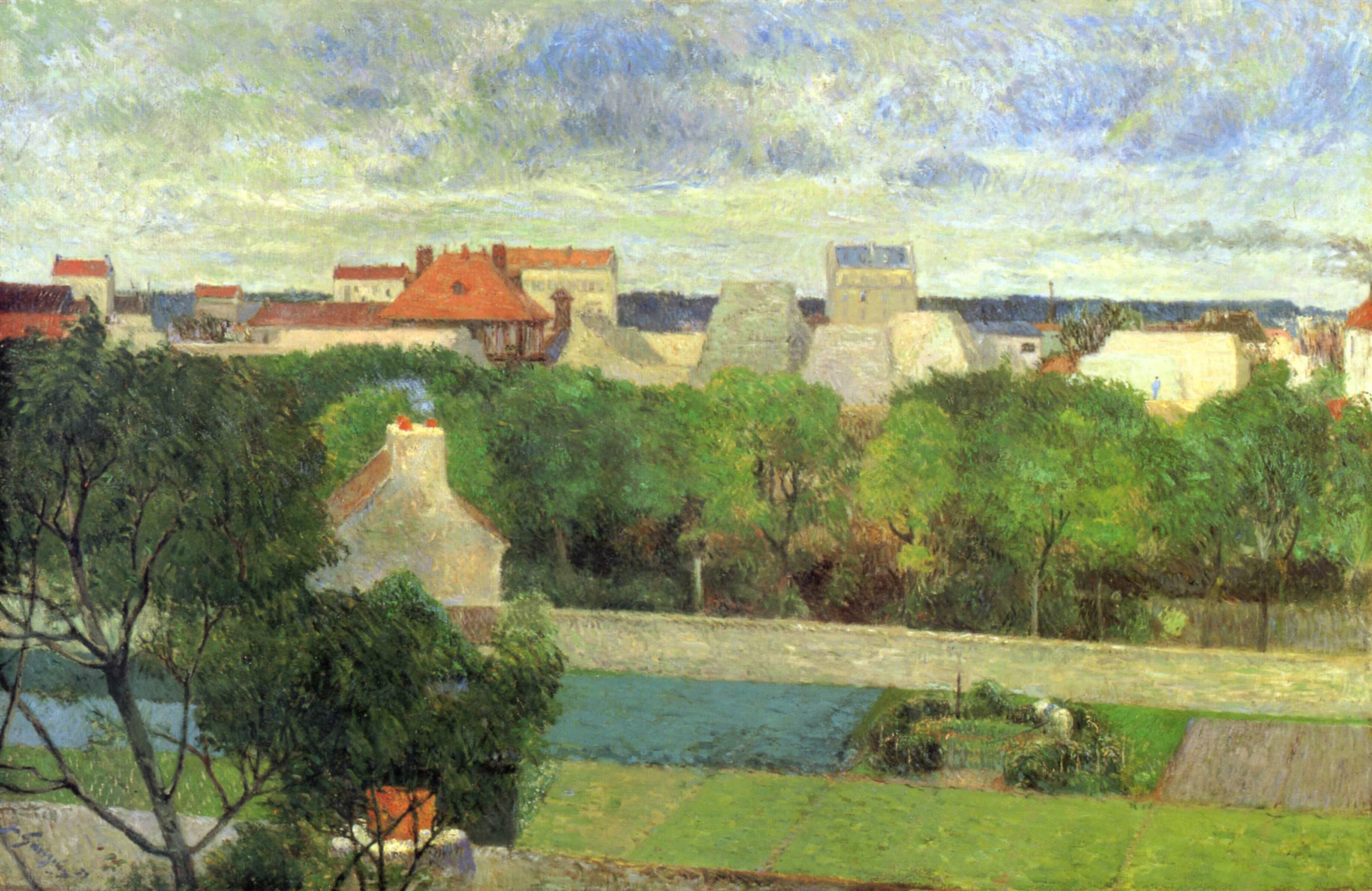 пейзаж < Крестьяне, занимающиеся разведением гусей >  :: Поль Гоген [ живопись постимпрессионизм ] - Paul Gauguin фото