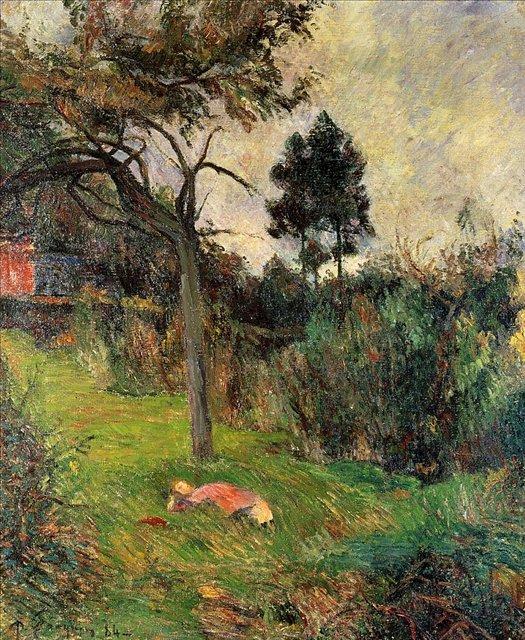 пейзаж  Молодая женщина, лежащая на траве :: Поль Гоген [ живопись постимпрессионизм ] - Мировые шедевры, репродукции картин фото