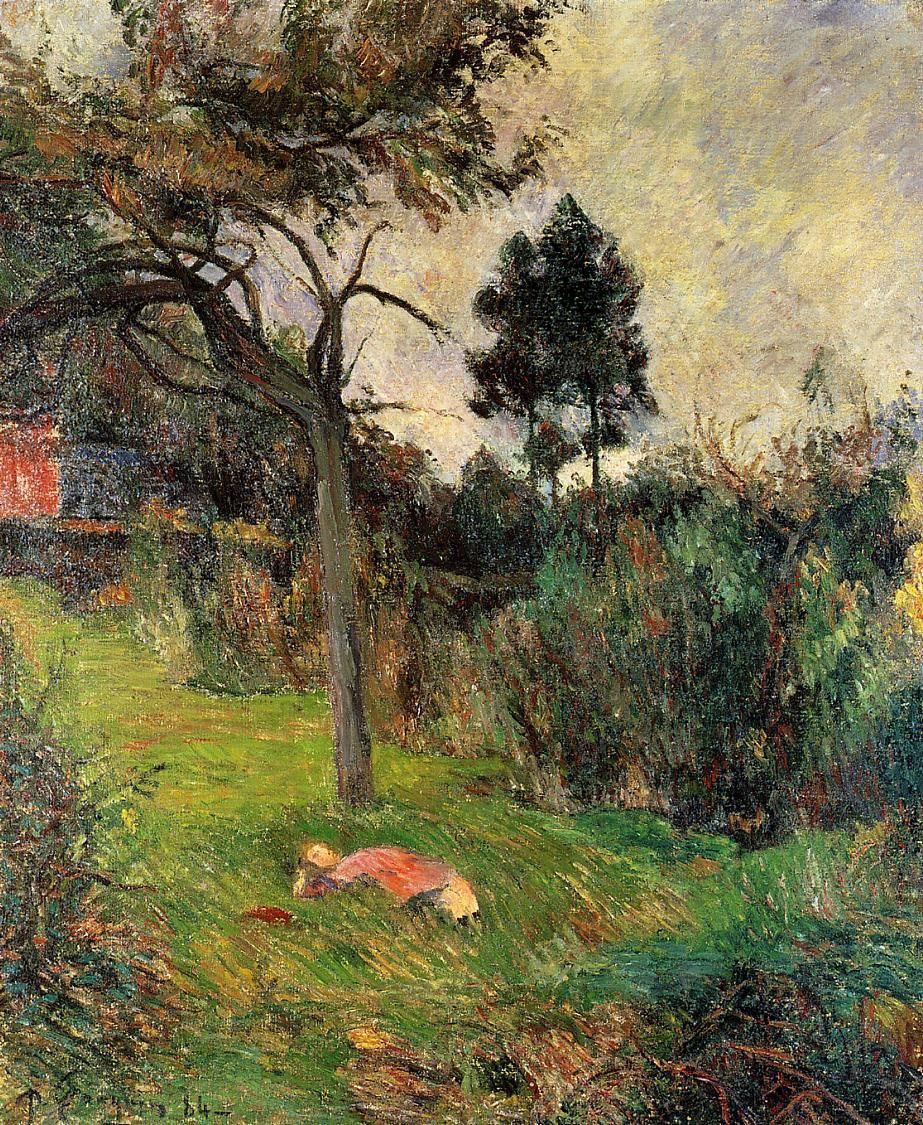 пейзаж < Молодая женщина, лежащая на траве >  :: Поль Гоген [ живопись постимпрессионизм ] - Paul Gauguin фото