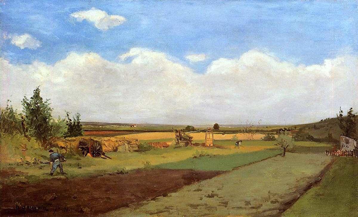 пейзаж < Работа на земле >  :: Поль Гоген [ живопись постимпрессионизм ] - Гоген Поль ( Paul Gauguin ) фото