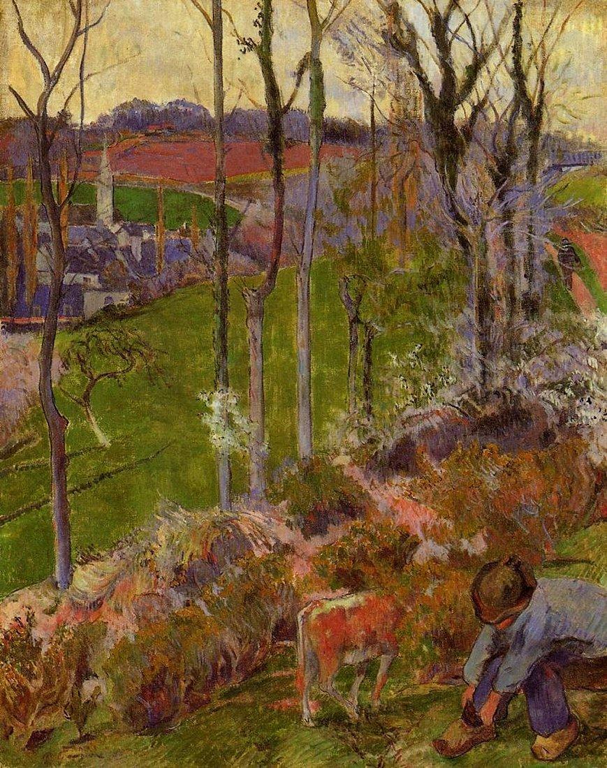 пейзаж < Зима (Молодой бретонец, поправляющий свою обувь)  >  :: Поль Гоген [ живопись постимпрессионизм ] - Гоген Поль ( Paul Gauguin ) фото
