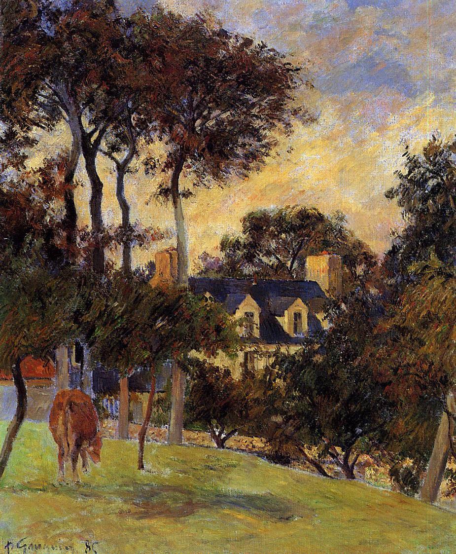 пейзаж < Белый дом >  :: Поль Гоген [ живопись постимпрессионизм ] - Гоген Поль ( Paul Gauguin ) фото